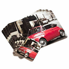 Set of 4 Placemats & Coasters Retro Fiat 500 Car Dinner Table Setting Mats