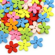 100PCs Mixed Wood Buttons Sewing Scrapbooking Flowers Shaped 2 Holes Mixed