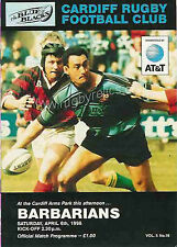 CARDIFF v BARBARIANS 1996 RUGBY PROGRAMME
