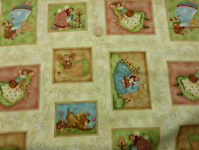 Children's Fabric 'Angels Amongst Us' Angels Hearts Dogs in Squares Fat Quarter