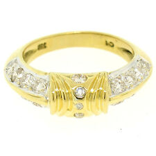 Solid 18k Yellow Gold 1.0ctw Round Brilliant Diamond Knife Edge Design Band Ring