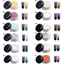 12Colors/Set 2g/Box 3D Glitter Mirror Chrome Effect Magic Nail Art Powder Decor