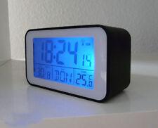 Funkuhr mit Thermometer Funkwecker wecker Tischuhr in schwarz NR (sn4491-s)