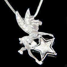 w Swarovski Crystal Tinkerbell Star Fairy Tink ANGEL Wing charm Necklace Jewelry