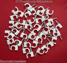 40X White Coaxial Cable Nail Wall WIRE CLIPS RG6U Alarm Speaker Ethernet Phone