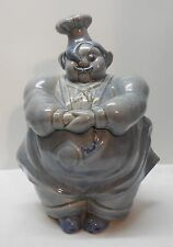 Blue Pottery Pot Belly Plump Chef Cookie Jar Red Wing Vintage