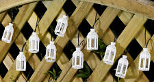 10PC WHITE SOLAR POWERED MORROCAN LANTERN STRING LIGHTS FOR INDOOR/OUTDOOR USE
