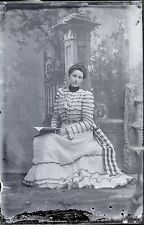 Antique 4x6 Glass Plate Negative Woman in Fancy Dress (V3814)