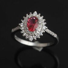 Red Ruby White Topaz 925 Sterling Silver Engagement Gemstone Ring Size 6# J507
