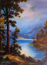 vintage artCabin on Water Forest Moon Light Wm Thompson