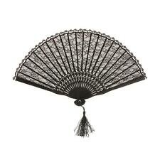 Black Folding Hand Fan Lace Spanish Gothic Party Favor Fancy Dress