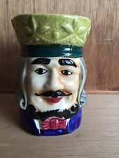 Vintage Toby Jug Mug Old Man Face with Green Hat Wig Mustache Bowtie Victorian