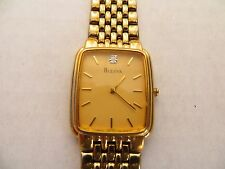 VERY NICE, CLEAN BULOVA MAN'S QUARTZ GOLD TONE WRIST WATCH, NEW BATTERY