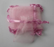 10 small pink organza gift pouches/bags with drawstring