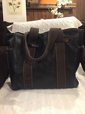 Ruehl 925 Large Brown Pebbled Leather Tote With Logo Canvas Straps $650 Unisex