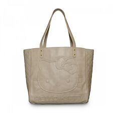 New LOUNGEFLY Hangbag Bag HELLO KITTY Tote Purse SANRIO Taupe Cream Qulted Head