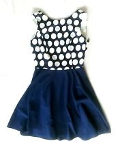 NWT NAVY BLUE/WHITE POLKA DOT COMBO RED BOW OPEN BACK FIT-N-FLARE DRESS S 4 6
