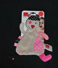 Peluche doudou chat ours  plat  INFLUX CORA pirate cocard rose gris 100 % NEUF
