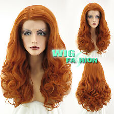 "20"" Long Curly Pumpkin Orange Lace Front Synthetic Wig Heat Resistant"