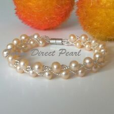 "Genuine Multi 2 Strand Peach Cultured Freshwater Pearl Bracelet 7"" 7.5"" Magnetic"