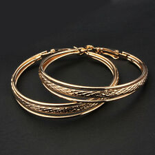 LARGE GOLD PLATED DESIGN TRIPLE HOOP EARRINGS 60MM HYPOALLERGENIC LADIES GLH3