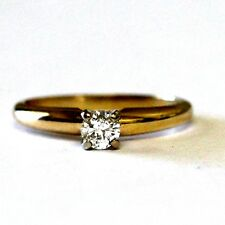 14k yellow gold .20ct womens round diamond solitaire engagement ring 1.8g estate