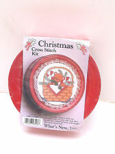 Christmas Cross Stich Kit-Teddy in a Basket-#28106-New-Red Tin-What's New, Inc.
