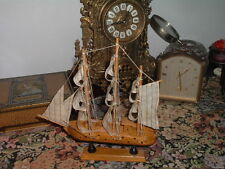Vintage Wood Model Ship Cloth Sails Rope Stringing on Stand
