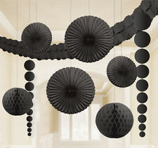 9 Black Hanging Paper Party Decorations Fans Honeycombs garland Black Decoration