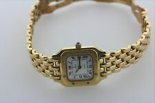 "Solid 18K 750 Yellow Gold La Monde Swiss quartz ladies watch - 6.25"" 18K Band"