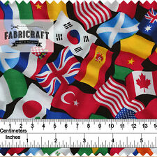Flags of the World fabric by Timeless Treasures 100% cotton