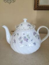 Wedgwood APRIL FLOWERS Tea Pot Teapot Bone China LAVENDER Made In ENGLAND!