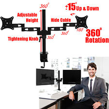 """Dual LCD Monitor Desk Mount Stand Fully Adjustable/Tilt 2 Screen upto 27"""" 26 25"""