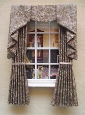 MINIATURE DOLLS HOUSE 12TH SCALE WINDOW CURTAINS DRAPES 4 3/4 IN WIDE