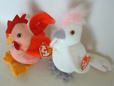 2 - TY '96/'97 BEANIE Babies STRUT ROOSTER Bird KUKU COCKATOO Pink Crest Retired