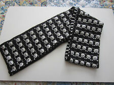 SKULL CROSS BONE ALLOVER  STRIPED REVERSIBLE SCARF FROM HOT TOPIC