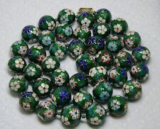 Jumbo Cloisonne Necklace Kelly Green Floral 15mm Bead Necklace~Fancy Clasp 30""
