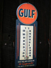 Gulf Thermometer Vintage Style -Gasoline Garage Shop Dealer Man Cave Sign - New