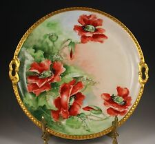 "Limoges FRANCE Charger HAND PAINTED POPPY PLATE  10.75"" SCALLOPED GOLD RIM"