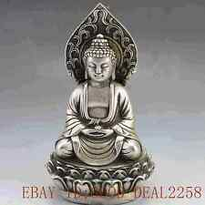 Collectible Decorated  Tibet Silver  Hand-Carved  Buddha Statue