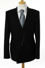 Balenciaga Mens Black Wool Zipper Trim Button Blazer Size IT 52 New 96774