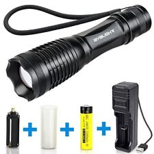 Adjustable Focus LED Flashlight with Rechargeable Battery USB Charger (E148)