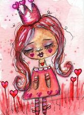 ACEO Original Painting Queen of Hearts Whimsical Art by FAiRyPiGGleS