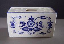 Blue & White Rectangular Brick Shape Ceramic Flower Frog Vase in a Floral Design
