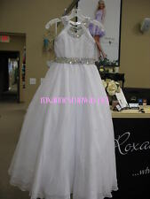 Little Rosie LR2154 White Stunning Girls Pageant Gown Dress sz 12