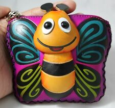 Bee Genuine Leather Coin Purse Purple HandBag Zip KeyChain Handmade Craft Sweet