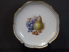 "SCHUMANN Fruit Pattern Plate Reticulated Scalloped Gold Edged 7"", Germany, Mint!"