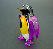 Glass PENGUIN Bird Purple Painted Glass Ornament Blown Glass Animal Figure Gift