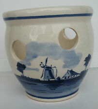 "Vintage Delft Blauw Windmill Planter Handpainted Holland  4 1/4"" Tall"