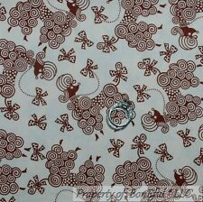 BonEful Fabric FQ Cotton Quilt Cream White Brown Poodle French Dog Bow Swirl Dot